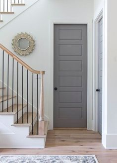 and Practical Atlanta Townhouse - Town & Country Living renovation PaintingPretty and Practical Atlanta Townhouse - Town & Country Living renovation Painting Grey Interior Doors, Interior Door Colors, Interior Door Styles, Painted Interior Doors, Grey Doors, Painted Doors, Wooden Doors, Door Design, House Design