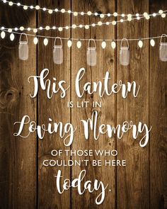 This lantern is lit in loving memory of those who could not be here today. 8x10 printable sign instant download  This listing is for a PRINTABLE one-sided 8x10 sign for you to print at home or print through a print shop.  You will receive a JPG immediately after you purchase.  Have it personalized with love ones names for just $5 more. Select Request Custom Order  Everything is sent through email only for you to print yourself. Nothing will be shipped to you, so no more waiting or paying…