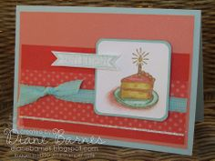 Stampin Up Sketched Birthday cake card by Di Barnes colourmehappy #stampinup #stampinupau #colourmehappy