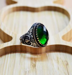 Excited to share the latest addition to my #etsy shop: Mens Handmade Ring, Turkish Handmade Silver Men Ring, Ottoman Mens Ring, Emerald Ring, Men Ring, Gift for Him, 925k Sterling Silver Ring #jewellery #ring #silver #yes #boys #green #emerald #valentinesday #birthday