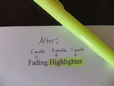 """a highlighter that disappears over time.. no more """"don't highlight in your textbook!"""" rules from the teacher"""