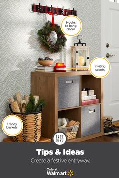 Walk into a winter wonderland by adding new home décor accents from Better Homes & Gardens at Walmart. #holiday #christmas #entryway #entrywayideas #holidayhomedecor #entrywaystorage #cubestorage #holidayfoyer