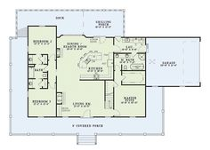Country Style House Plan - 3 Beds 3 Baths 1921 Sq/Ft Plan #17-235 Floor Plan - Main Floor Plan - Houseplans.com