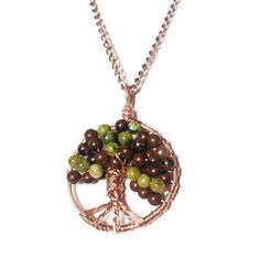 Mahogany Obsidian and Yellow Turquoise Jasper Copper Tree of Life Pendant Necklace