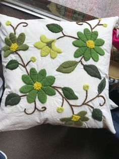 Marvelous Crewel Embroidery Long Short Soft Shading In Colors Ideas. Enchanting Crewel Embroidery Long Short Soft Shading In Colors Ideas. Cushion Embroidery, Crewel Embroidery Kits, Embroidered Cushions, Hand Embroidery Patterns, Ribbon Embroidery, Embroidery Needles, Embroidery Supplies, Floral Bedspread, Cushion Cover Designs