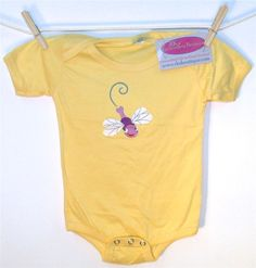 6-Month Yellow Dragonfly Baby Onesie by RK's Embroidery Boutique!