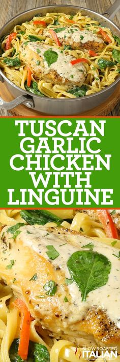 Tuscan Garlic Chicken and Linguine is a simple recipe ready in 20 minutes. Tender and juicy chicken with linguine pasta and fresh red peppers are tossed in a rich and creamy Chardonnay garlic-cream sauce to create this Tuscan-inspired dish. There is nothi Linguine Recipes, Pasta Recipes, Chicken Recipes, Cooking Recipes, Healthy Recipes, Baked Chicken, Yummy Recipes, Italian Dishes, Italian Recipes