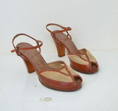 1940s Shoes / 40s Peep Toe Heels  / Brown by FemaleHysteria