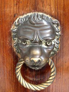 Tête de lion porte ornementales knocker black antique bell