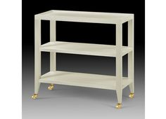 Isadora Table with natural grasscloth, brass castors