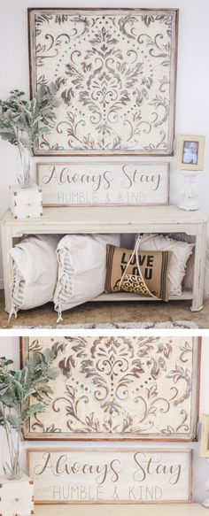 Lovely farmhouse decor, PERFECT for the entryway! The beautiful medallion piece is GORGEOUS, I also love the pillows tucked on the bottom shelf. I need that topiary STAT & the cute little sign of course ;) || #farmhousedecor #farmhousesigndiy #afflink #farmhouseinspiration #farmhouseentry #entrywayideas #entryway