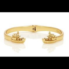 """Kate Spade Boat Bangle Kate Spade Rock the Boat hinged bangle.  Shiny 12 karat gold plated with enamel coating. inner circumference 2.25"""" x 2""""  Comes with Kate Spade jewelry bag.  NWT   No Trades kate spade Jewelry Bracelets"""