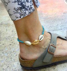 Anklets for Women, GLoaSublim Fashion Women Faux Turquoise Beaded Shell Foot Bracelet Anklet Jewelry Decor - Blue Foot Bracelet, Anklet Bracelet, Bracelets, Crochet Sandals, Crochet Bracelet, Beaded Bracelet, Anklets Online, Beach Foot Jewelry, Leg Chain