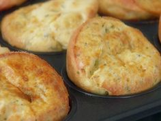 Garlic and Cheese Popovers Recipe : Giada De Laurentiis : Food Network.not healthy but a great cheat with the pork and salad Giada De Laurentiis, Giada At Home, Giada Recipes, Cooking Recipes, Bread Recipes, Cooking Tips, Popover Recipe, Good Food, Yummy Food