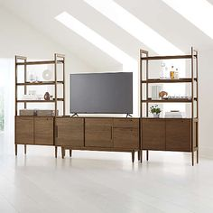 Entertainment Centers & Media Consoles | Crate and Barrel Console Cabinet, Sideboard, Wide Bookcase, Bookcases, Bookcase Wall, Modern Bookcase, Unique Furniture, Media Furniture, Mid Century Design