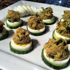 Paleo snack - Sliced cucumber, boiled egg and and tuna mix