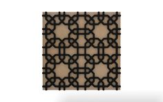 Vicoustic's Malak pattern with black frame and beige fabric.
