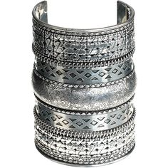 Accessorize Zena Ethnic Embossed Cuff (86 VEF) ❤ liked on Polyvore featuring jewelry, bracelets, accessories, silver, cuff bangle, silver jewelry, accessorize jewellery, silver cuff bangle and silver jewellery