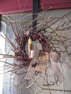 Primitive Twiggy Grapevine/Pip Berry Wreath with TIMER Candle