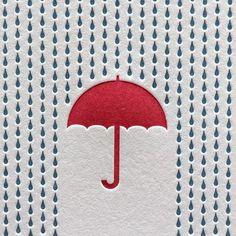 傘と雨。立体感のある雫の並びは、しとしとという雨音まで聞こえてきそうです。