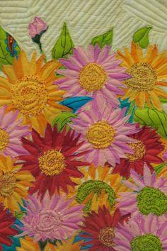 Flowers, machine stitched raw edge applique