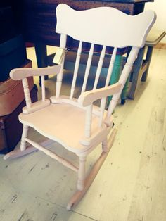 Pink child's rocking chair , painted with Autentico Rose chalk paint