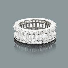 baguette diamond ring | Diamond Eternity Rings: 14K Round Baguette Diamond Band 5.60ct