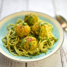 pea and ricotta polpette with mint and pistachio pesto