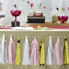 white pink and gold tables | Home » bunting » Pink, White, Gold Tassel Wedding Garland 2.5m