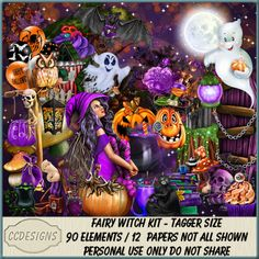 Fairy Witch Kit (TS/PU/S4H) [CCD] : Scrap and Tubes Store, Digital Scrapbooking Supplies Scrapbook Supplies, Creative Design, Digital Scrapbooking, Cool Pictures, Craft Projects, Fairy, Halloween, Paper, Artist