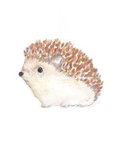 Hedgehog Print Woodland Wall Art Watercolor by Littlecatdraw