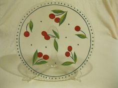 Vintage hand painted cherries on glass dessert plate.