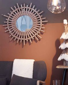 Alice Starburst Mirror, Wood Frame Dia:80cm | Free Delivery Hallway Mirror, Wood Framed Mirror, Starburst Mirror, Autumn 2017, Rustic Wood, Free Delivery, Wooden Frames, Contemporary Design, Alice