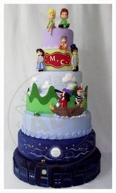 Layers of Peter Pan Scenes Cake