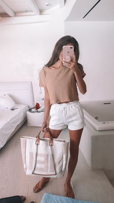 tan and white outfit, Chanel bag