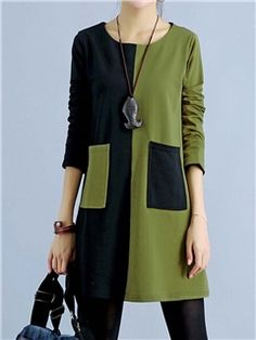 Colour Block Round Neck Casual Dresses 1 - love the black and khaki together. - - Colour Block Round Neck Casual Dresses 1 – love the black and khaki together. Great over leggings. Girls Casual Dresses, Cheap Dresses, Day Dresses, Dress Casual, Sleeve Dresses, Dresses Online, Tunic Dresses, Dress Shirts, Diy Kleidung