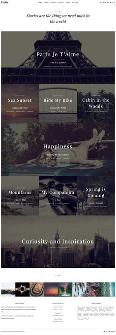 Evoke is a photo stories WordPress theme perfect to set up a website or a photo blog for travel, photography, blogging or a work portfolio.
