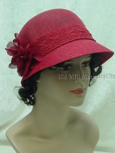 red 1920s 1930s Downton Abbey Gatsby Cloche style linen cotton hat #Epoch #Cloche #any