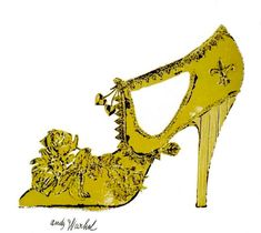 Andy Warhol / 1957 / Zsa Zsa Gabor shoe / Gold Leaf and ink on paper