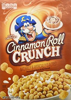 The Cereal Revue: Cinnamon roll Crunch Cinnamon Roll Crunch is a weird spinoff of CapN Crunch and I can't really decide why they decided to make it. Maybe they're competing with Cinnamon Toast Crunch? New Cereal, Crunch Cereal, Cap'n Crunch, Cereal Recipes, Snack Recipes, Snacks, Easy Recipes, Cereal For Diabetics, 90s Food