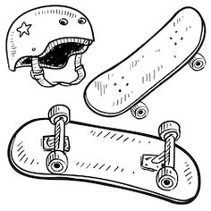 Skateboard Illustrations and Clip Art. Skateboard royalty free illustrations and drawings available to search from thousands of stock vector EPS clipart graphic designers. Skateboard Images, Skateboard Logo, Skateboard Helmet, Tatoo Skate, Skates, Helmet Drawing, Back Drawing, Simple Doodles, Tattoos
