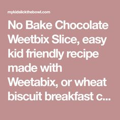 No Bake Chocolate Weetbix Slice, easy kid friendly recipe made with Weetabix, or wheat biscuit breakfast cereal. Foods With Iron, Foods High In Iron, Iron Rich Foods, High Iron, Breakfast Biscuits, Breakfast Cereal, Breakfast Healthy, Chocolate Weetbix Slice, Quick Recipe Videos