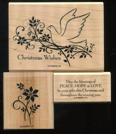 Stampin Up GIFTS OF CHRISTMAS Bird Flowers Peace Love Sayings WM Rubber Stamps #StampinUp