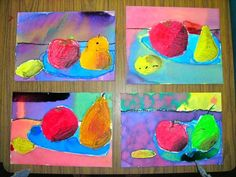 Drying still life paintings   2nd graders made their still life mixed media art this week. They were working from a photo ( in my last pos...