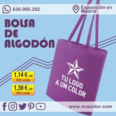 Practica bolsa tote de algodón personalizada con logo a un color por una o dos caras. #bag #tote #algodon #morado