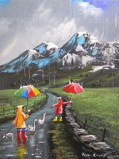 PETE RUMNEY FINE ART MODERN ACRYLIC ORIGINAL PAINTING TWO DUCKS DOWN THE LANE in Art, Artists (Self-Representing), Paintings | eBay