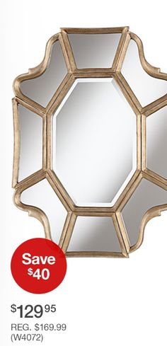 "Mount horizintally over fireplace.  Scalloped 35"" High Champagne Wall Mirror (W4072) - $129.95 - Save $40 - REG. $169.99"