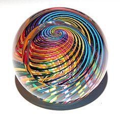 Zephyr Rainbow w/Large Facet Art-Glass Paperweight by Paul Harrie via 'lightopera.com' <3<3<3