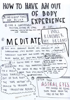 How To Have An Out Of Body Experience, hand lettered zine page // Christie Powers