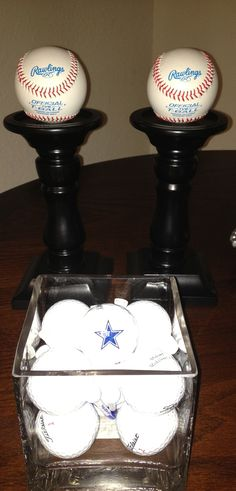 Sports themed baby shower center piece idea with various